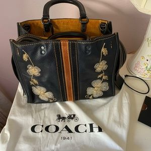 Coach 1941 Black Leather Rogue with Embroidery